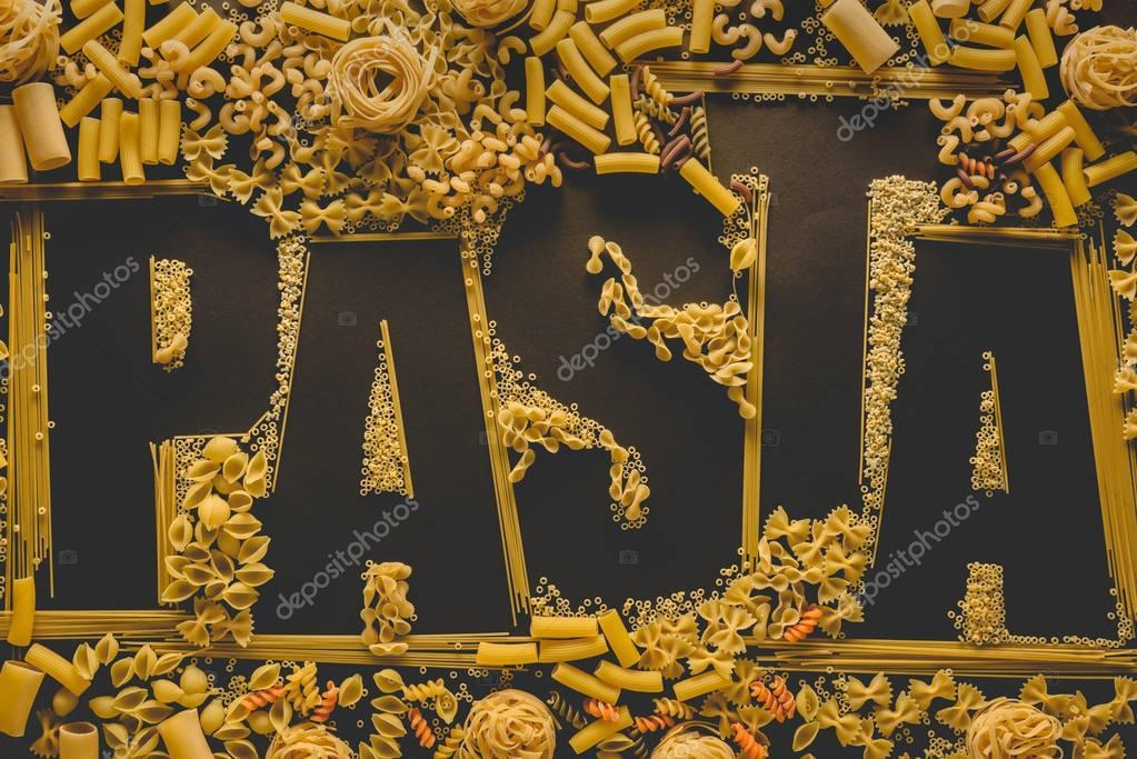 macaroni in shape of word pasta