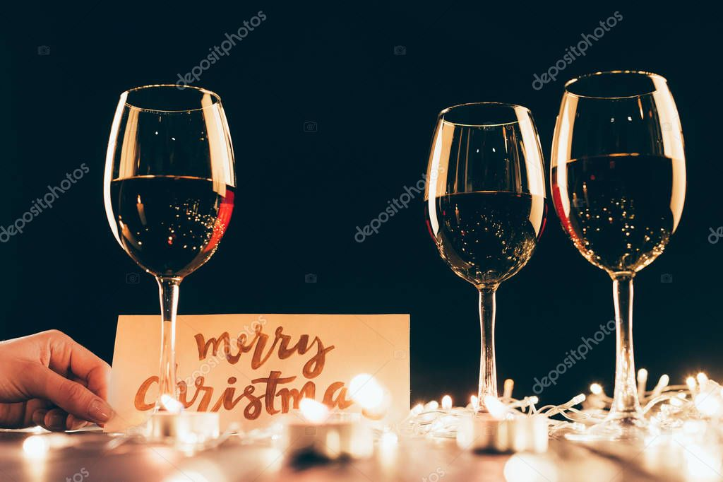 Wineglasses and christmas decorations