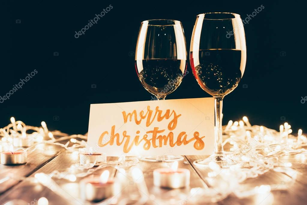 wine and merry christmas card
