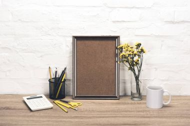 empty photo frame on table