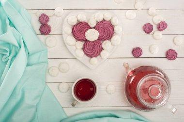 heart shaped marshmallows and tea
