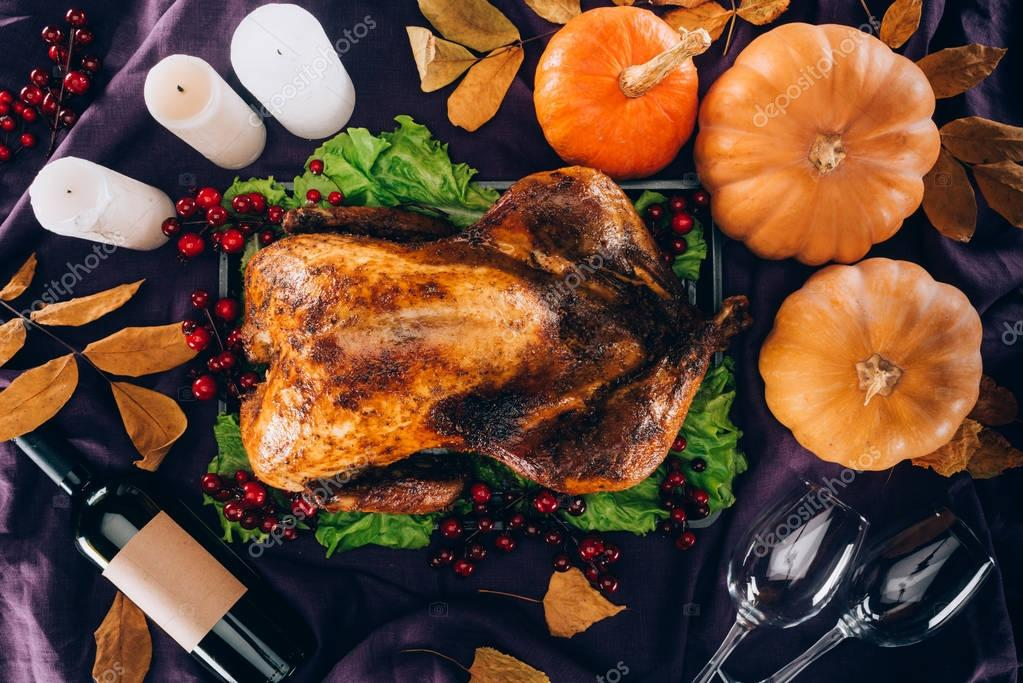 baked turkey with pumpkins