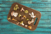 Photo Different types of mushrooms on cutting board