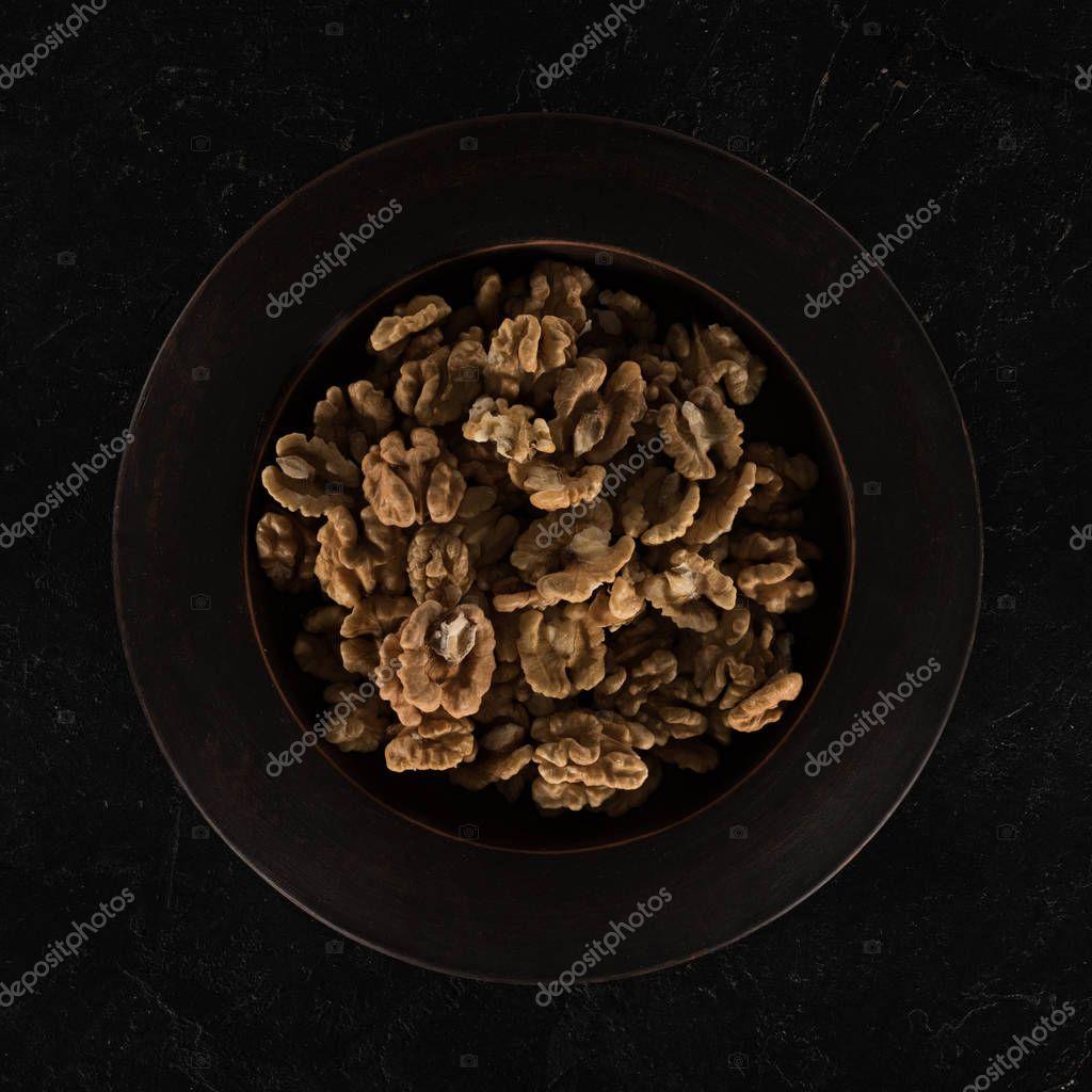 shelled walnuts in bowl