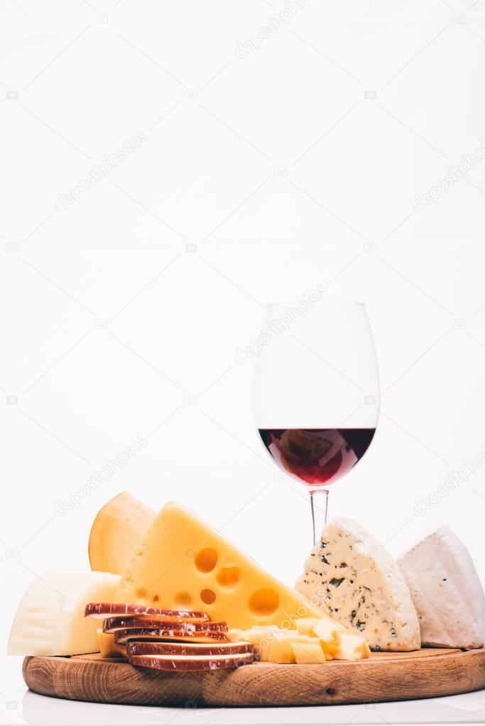 glass of red wine and cheese