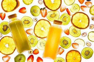 Full frame of arranged detox drinks, fruits and berries isolated on white stock vector