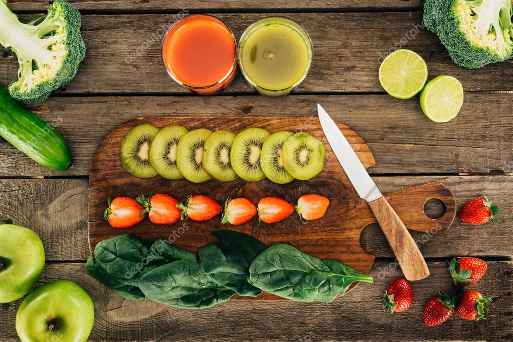 healthy cut food on cutting board