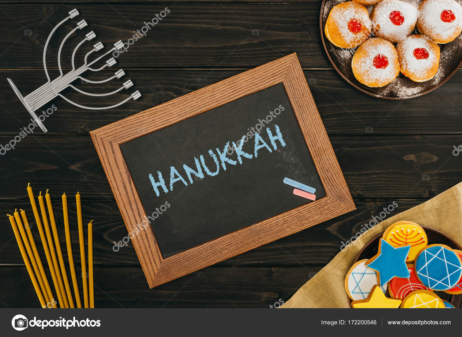 Rahmen Mit Hanukkah Wort Stockfoto C Vadimvasenin 172200546