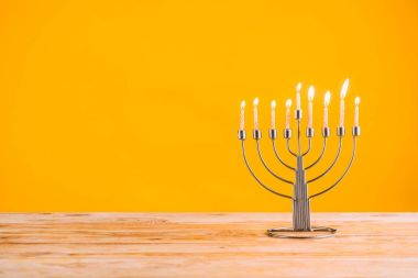 hanukkah celebrating with menorah