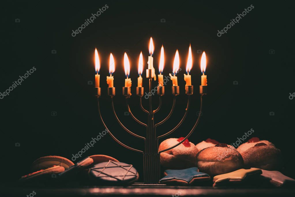 traditional jewish menorah for hanukkah celebration