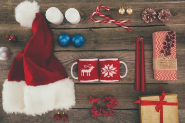 Santa hat and coffee cups