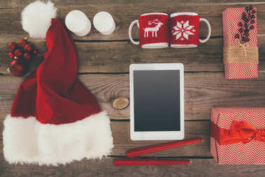 tablet and christmas decorations