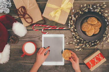 tablet with copy space on christmas