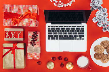 christmas gifts and laptop