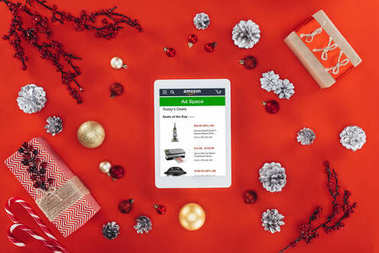 digital tablet with amazon website at christmastime