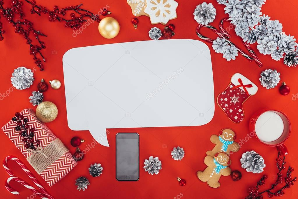 christmas decorations and speech bubble