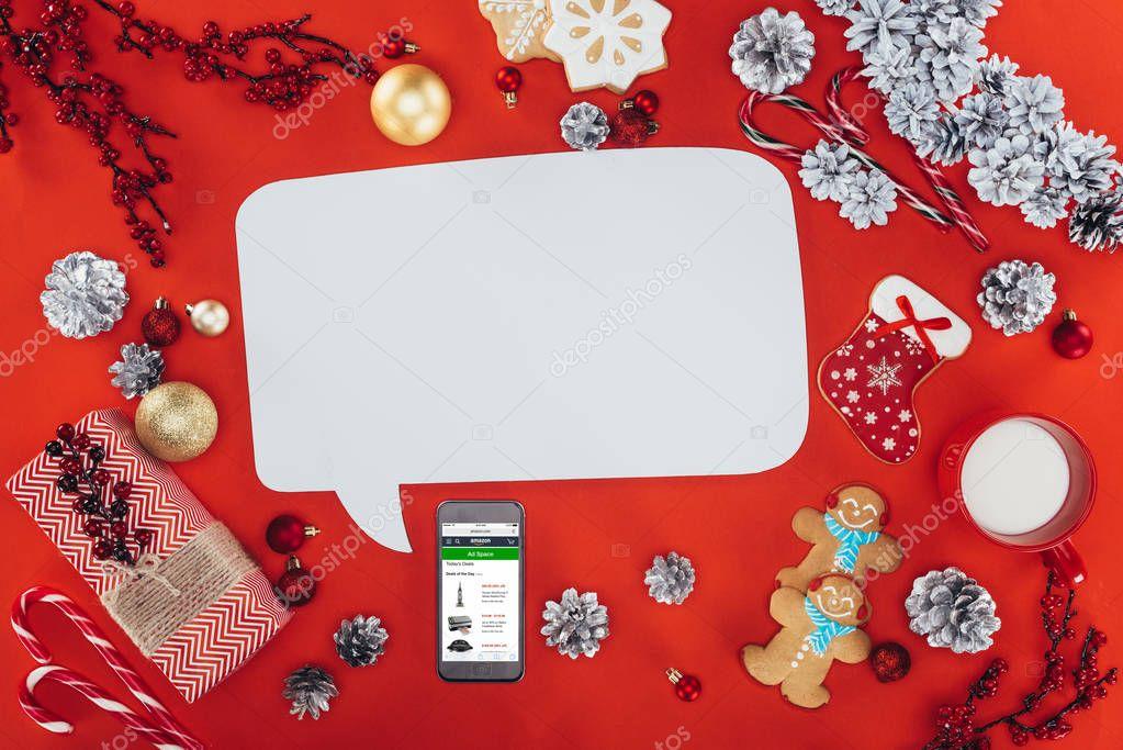 blank speech bubble on christmas
