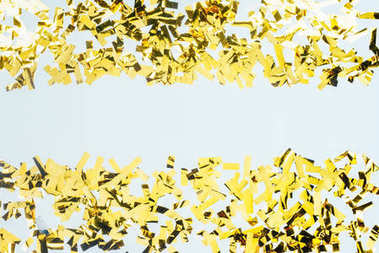 Top view of frame made of golden confetti isolated on white stock vector