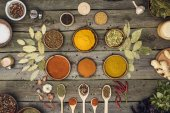 Fotografie bowls and wooden spoons with different spices