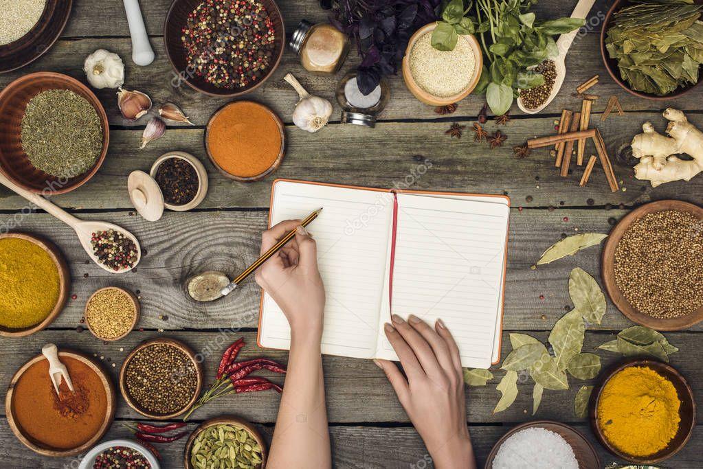 woman writing down recipe