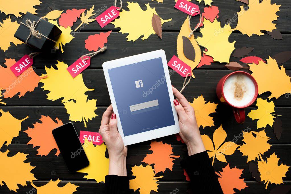 digital tablet with facebook website