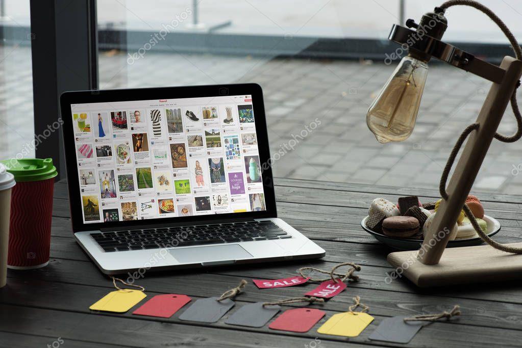 laptop with pinterest website