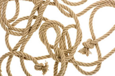 Close-up view of nautical rope with knots isolated on white stock vector