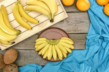 bananas, oranges and coconuts