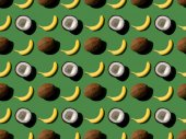 pattern with bananas and coconuts