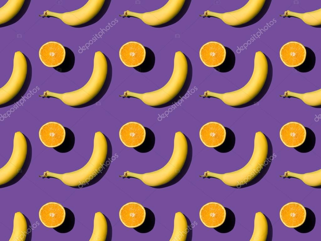 pattern with bananas and oranges