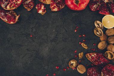 pomegranates with walnuts and lemons