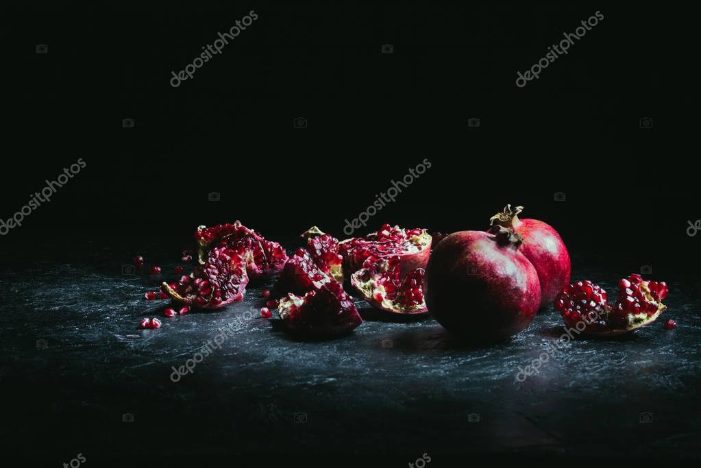 pomegranate pieces and seeds