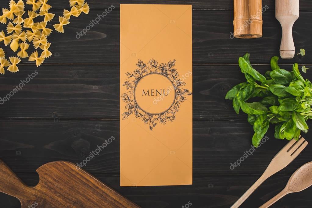 restaurant menu and ingredients