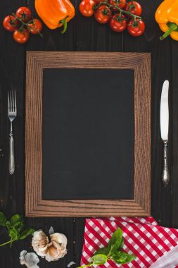 blank frame and cutlery