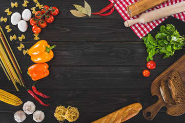 Top view of fresh raw ingredients on wooden table stock vector