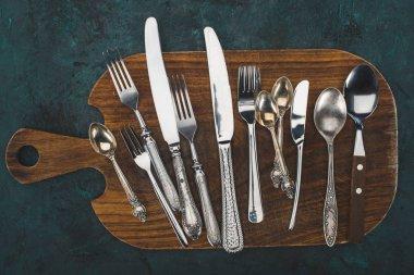 cutting board with cutlery