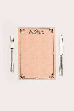 Top view of blank decorative menu and cutlery isolated on white stock vector