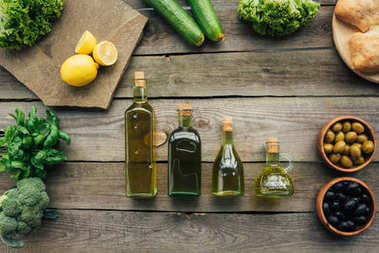 olive bottles on table