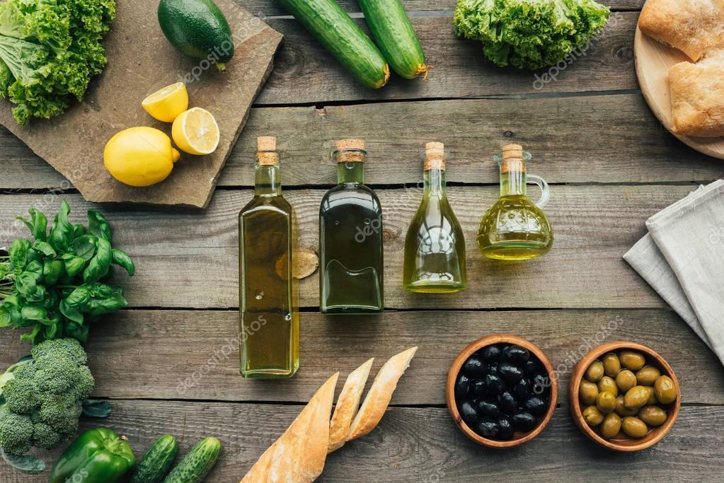 olive bottles on table