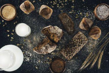 organic homemade bread and milk