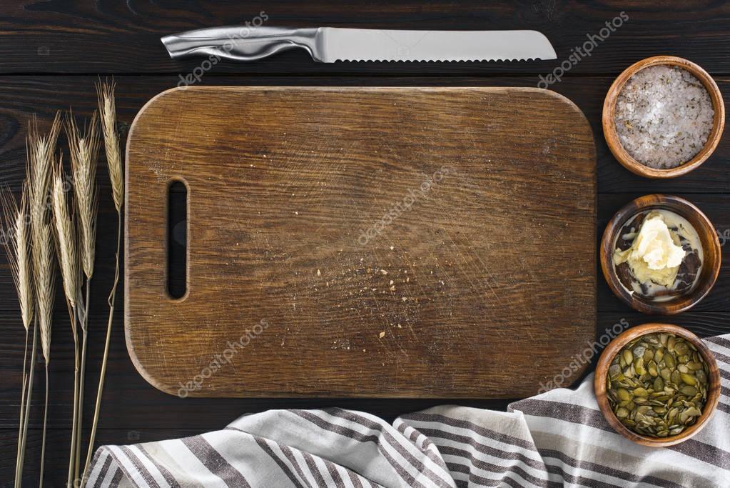 cutting board and knife