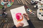 rajz, akvarell festék, művész