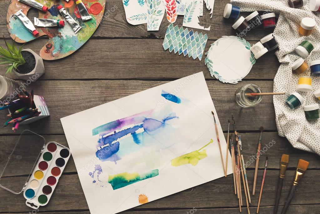 artist sketches drawn with watercolor paints
