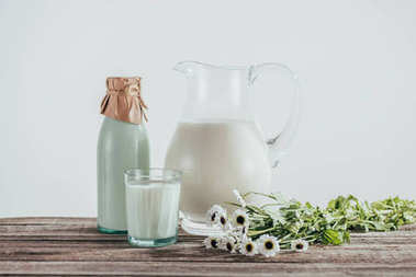 fresh milk with chamomile flowers