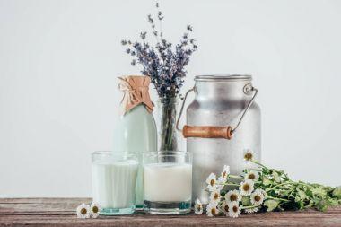 fresh milk and flowers