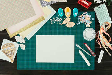 Top view of empty sheet of paper on designer table