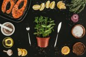 Fotografie top view of mint in pot with fork and knife, salmon steaks and seasonings on black
