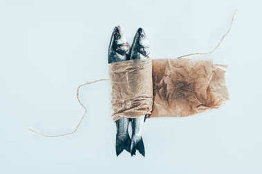 close-up view of delicious healthy fish in paper with rope isolated on grey