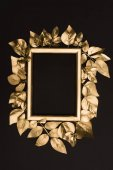 Fotografie top view of golden photo frame and leaves isolated on black