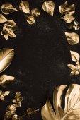 meg a fekete felületen különböző arany levelek felülnézet